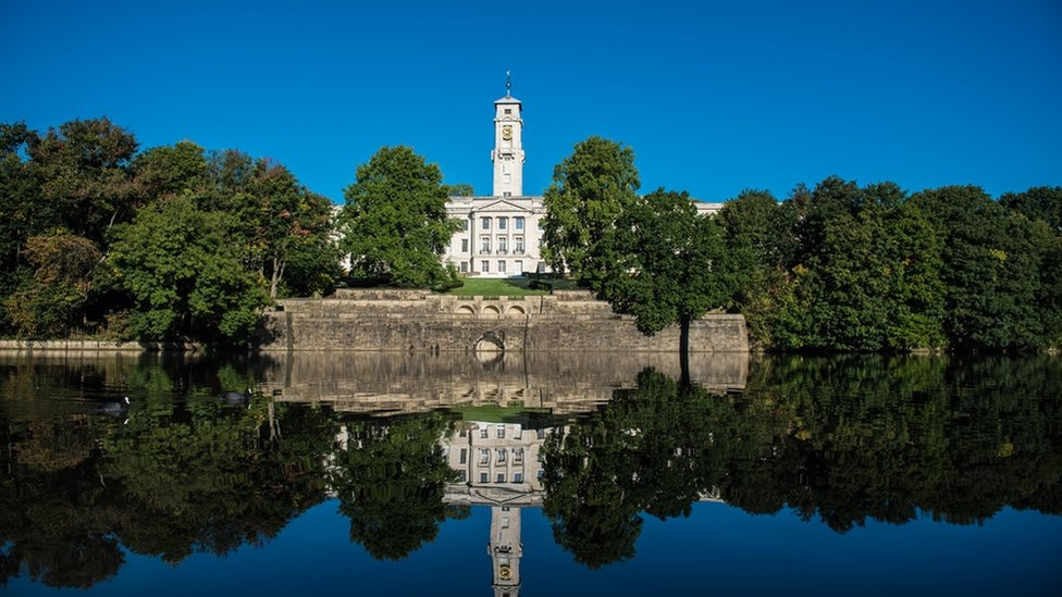The University of Nottingham's Trent building and Highfield lake