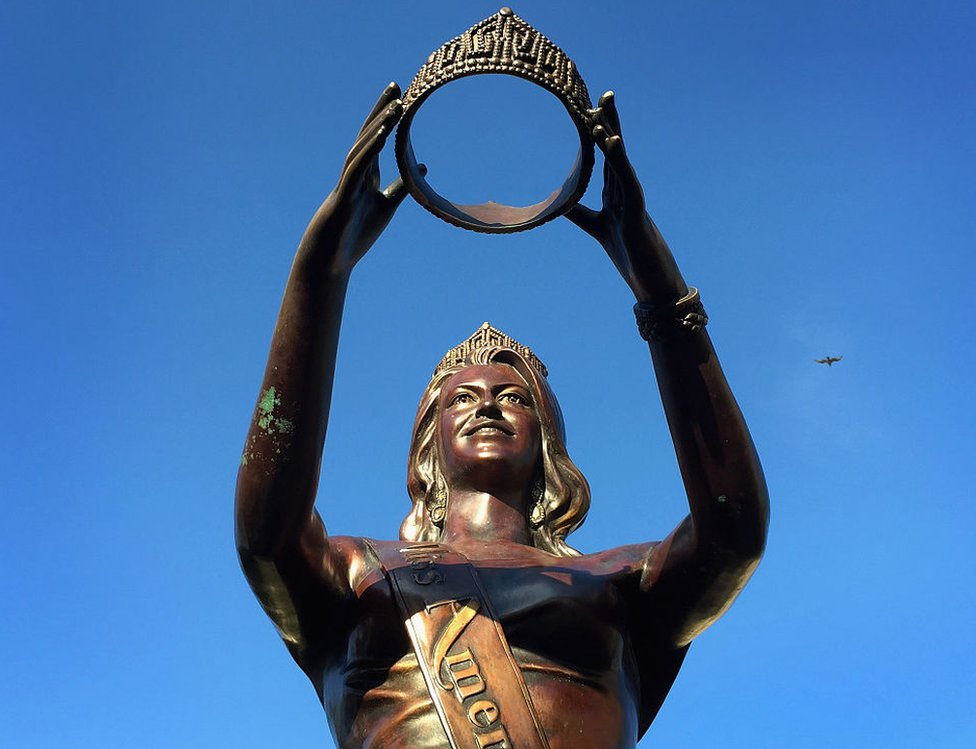 A Miss America statue in Atlantic City, New Jersey where the contest is held