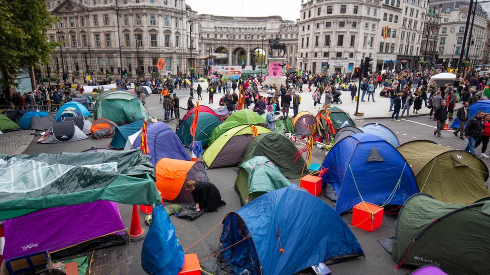 Tents belonging to protesters in Trafalgar Square