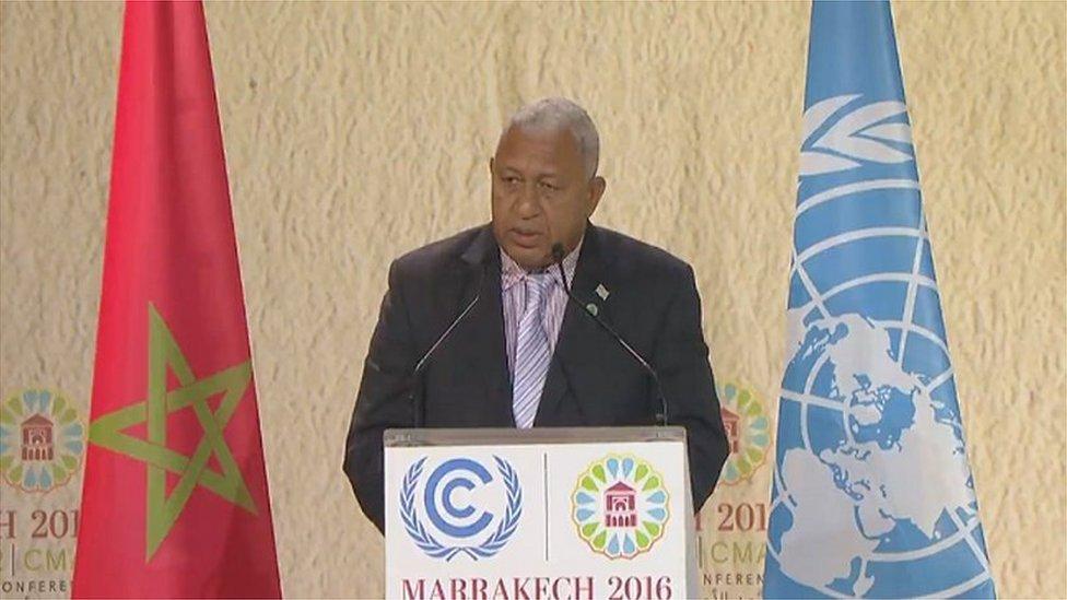 Frank Bainimarama at climate talks