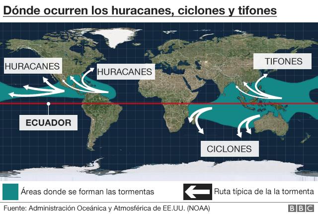 Mapa posición huracanes, ciclones, tifones