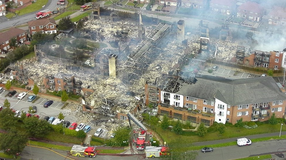 The remains of the Beechmere complex following the fire