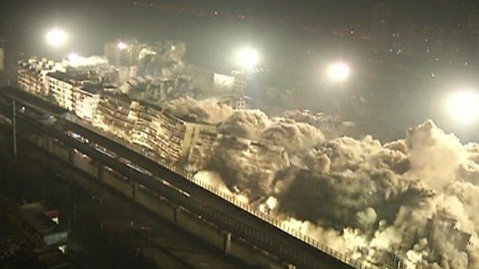 Ten seconds to demolish 19 buildings