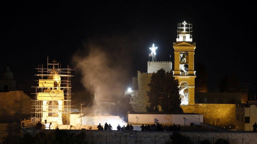 Christmas tree outside the Church of Nativity in Bethlehem, Dec 2017