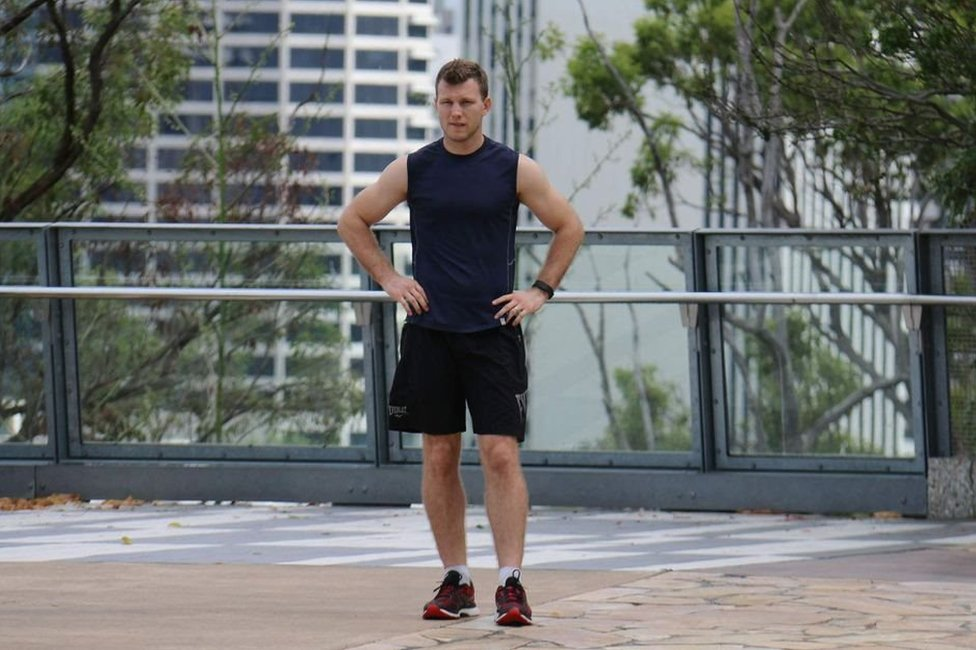 Jeff Horn training on a rooftop in Brisbane
