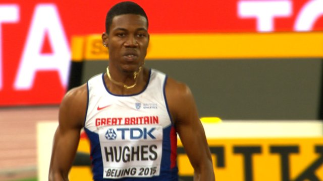 Zharnel Hughes during his heat at the World Championships in Beijing