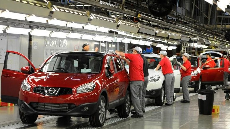 The production line at the Nissan car plant in Sunderland
