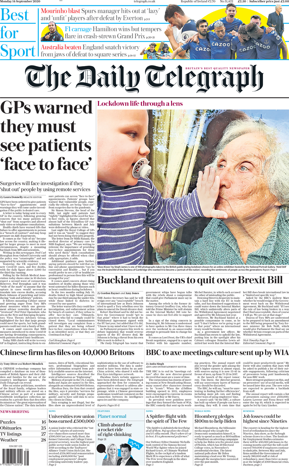 The Papers: Tory 'rebellion' and lockdown 'blow' to health thumbnail