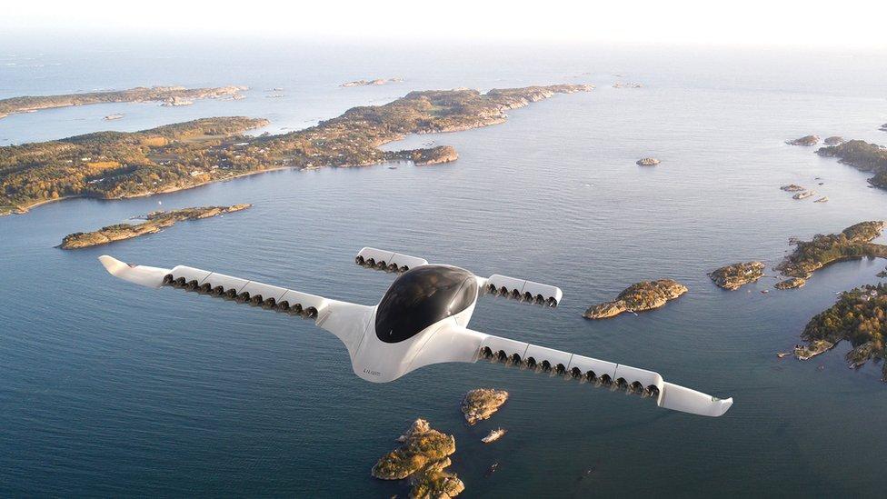 Artist illustration of Lilium EVTOL aircraft