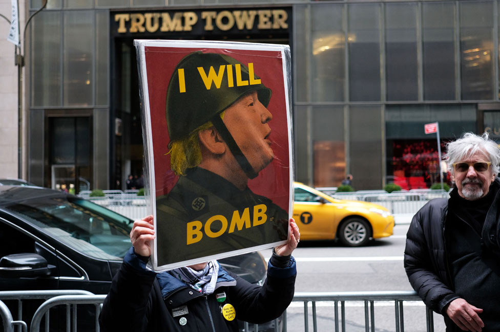 Protester outside Trump Tower