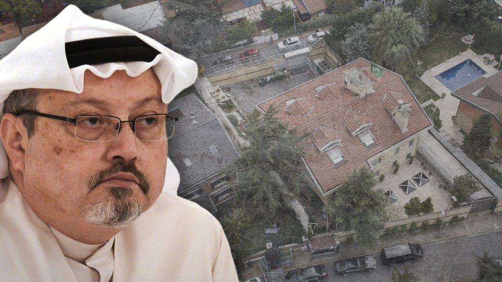 جمال خاشقجي وخلفية من صورة جوية للقنصلية السعودية في اسطنبول