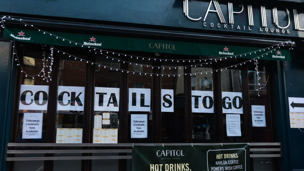 Cocktails To Go, seen in the window of Capitol cocktail lounge, in Dublin