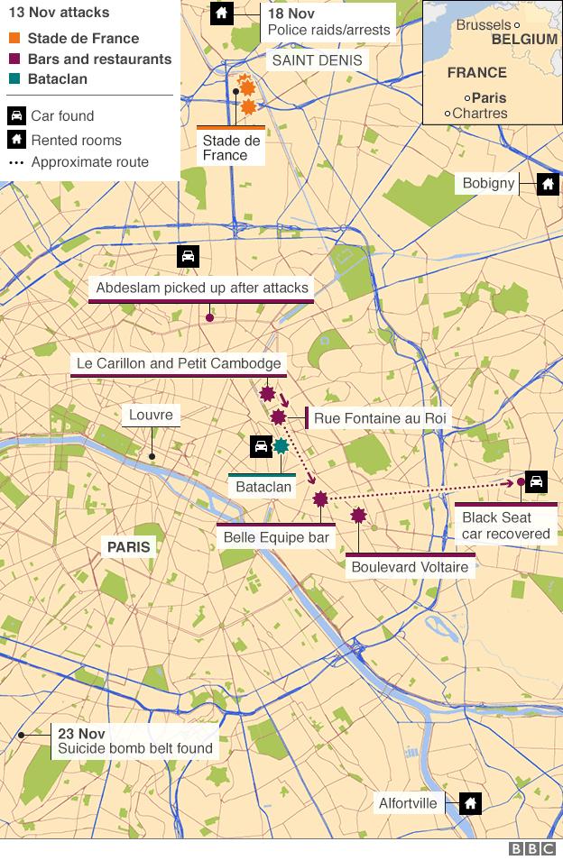 Carte de Paris montrant le site des attaques et d'autres lieux connexes