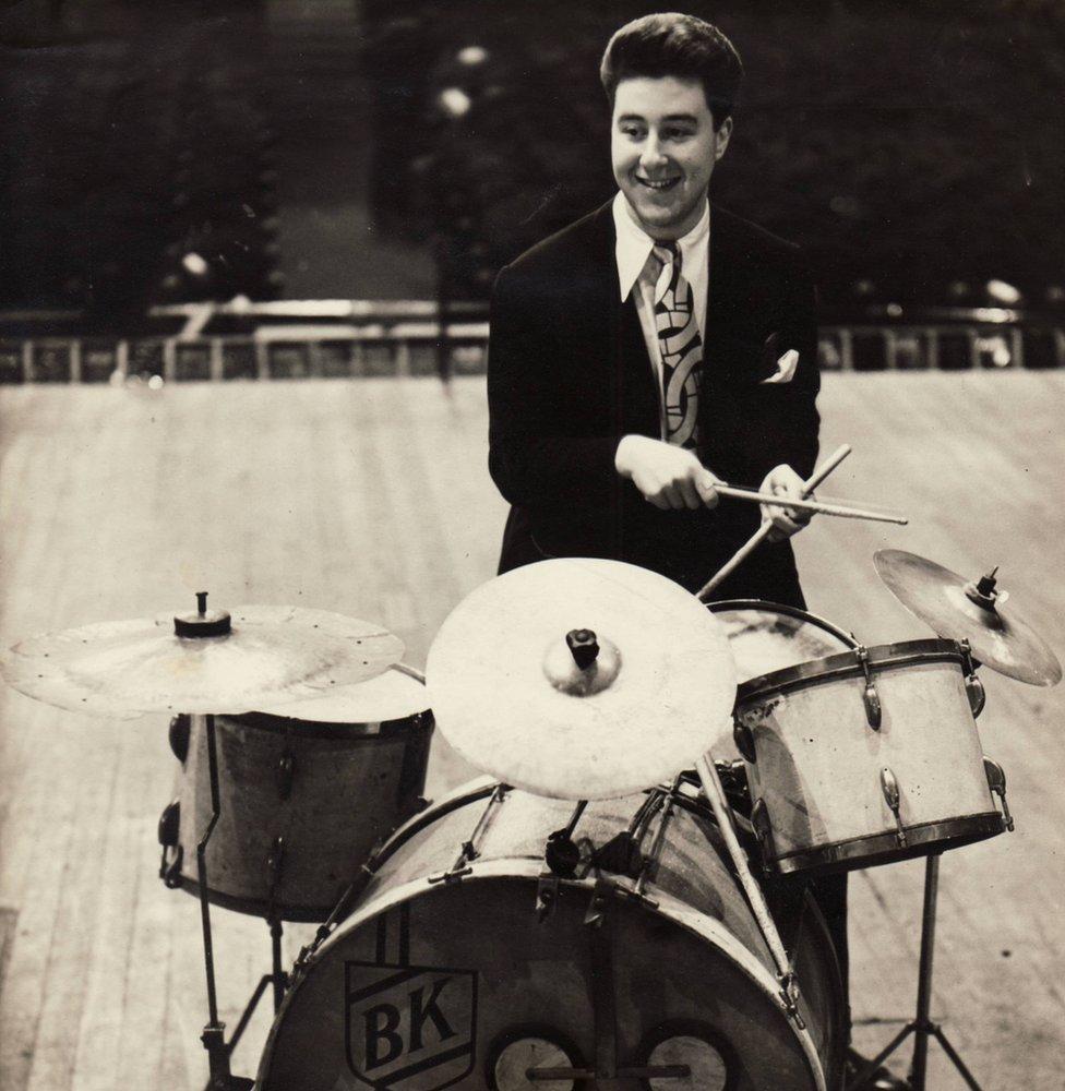 Basil Kirchin playing the drums