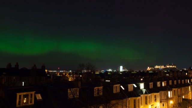 Aurora borealis over Edinburgh