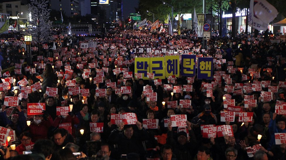 Thousands of South Koreans at a rally against President Park on 29 October 2016 in Seoul, South Korea.