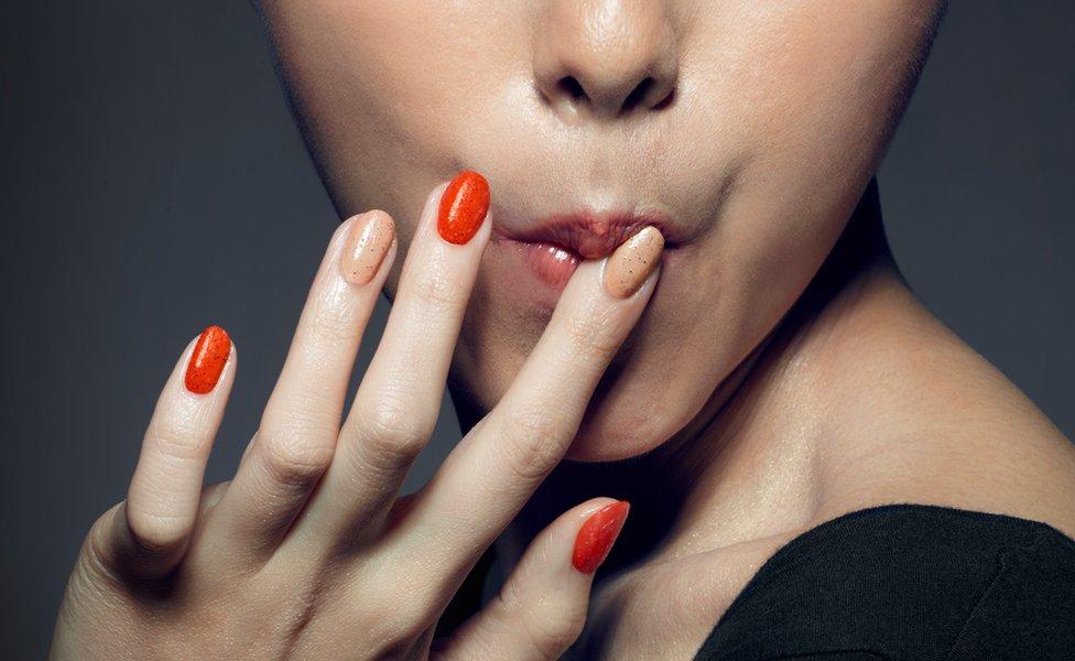 Promotional picture of KFC Hong Kong's edible nail polish