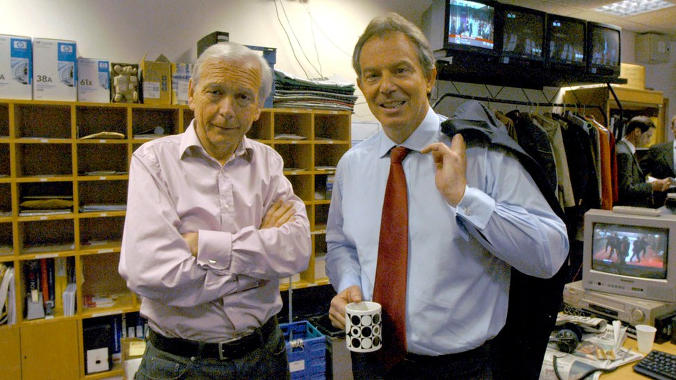 Humphrys after interviewing Tony Blair in 2005