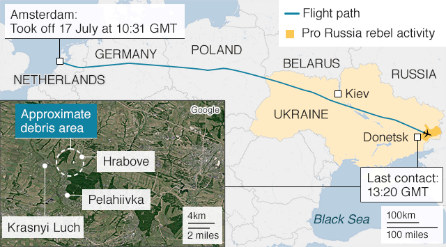 Map showing flight path before crash of MH17