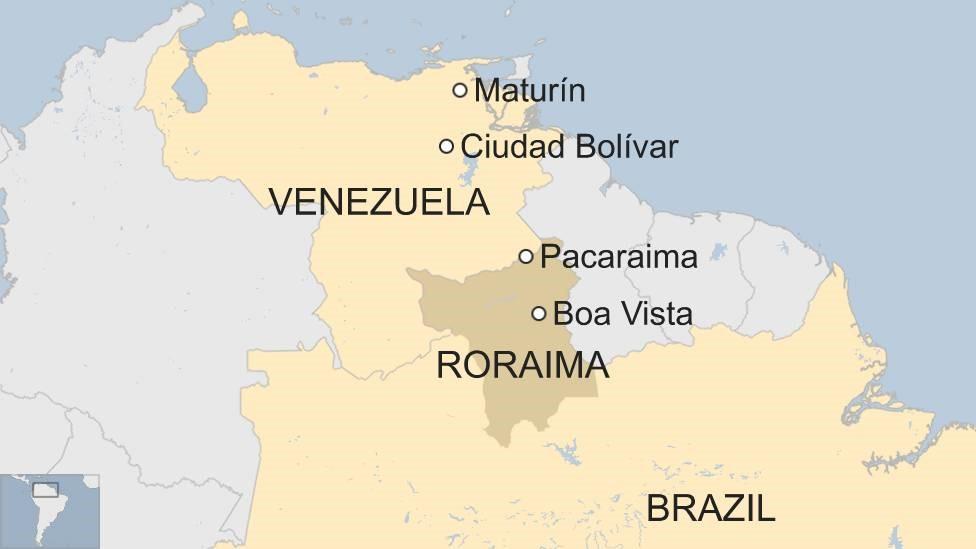 Map of Brazil and Venezuela