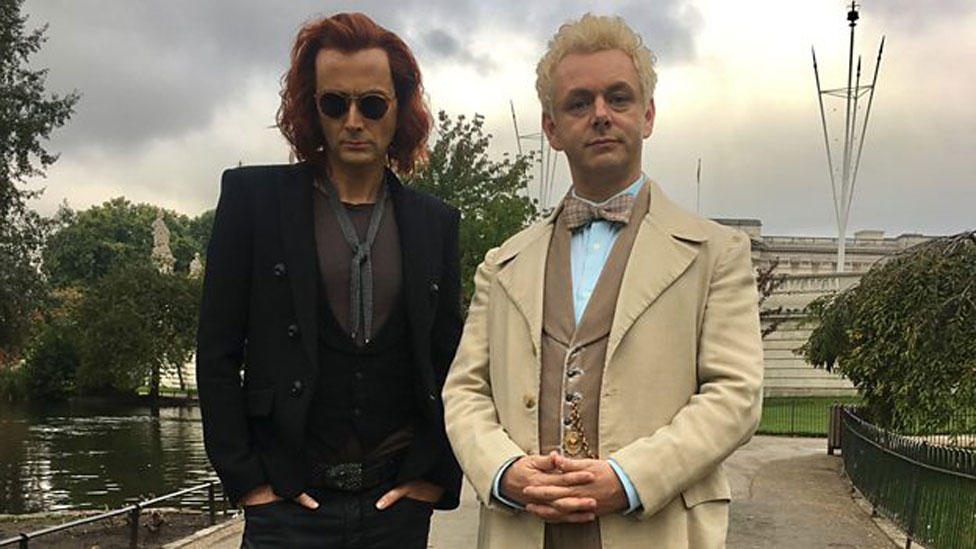 David Tennant and Michael Sheen as Good Omens' Crowley and Aziraphale