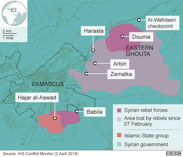 Map showing control of the Eastern Ghouta on 2 April 2018