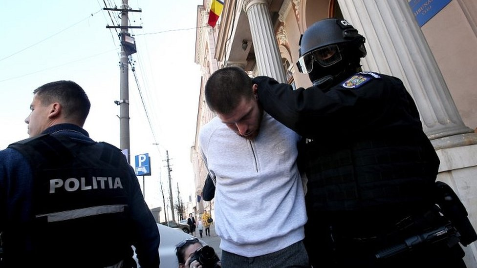 Romanian authorities with Shane O'Brien
