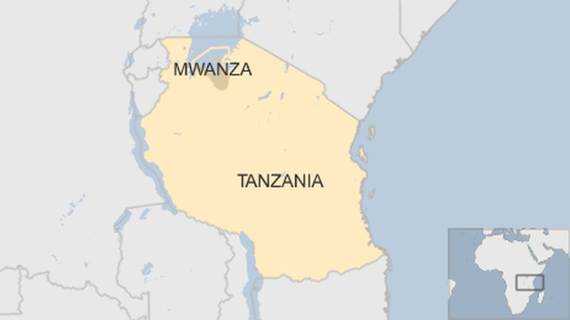Tanzania map with Mwanza district highlighted