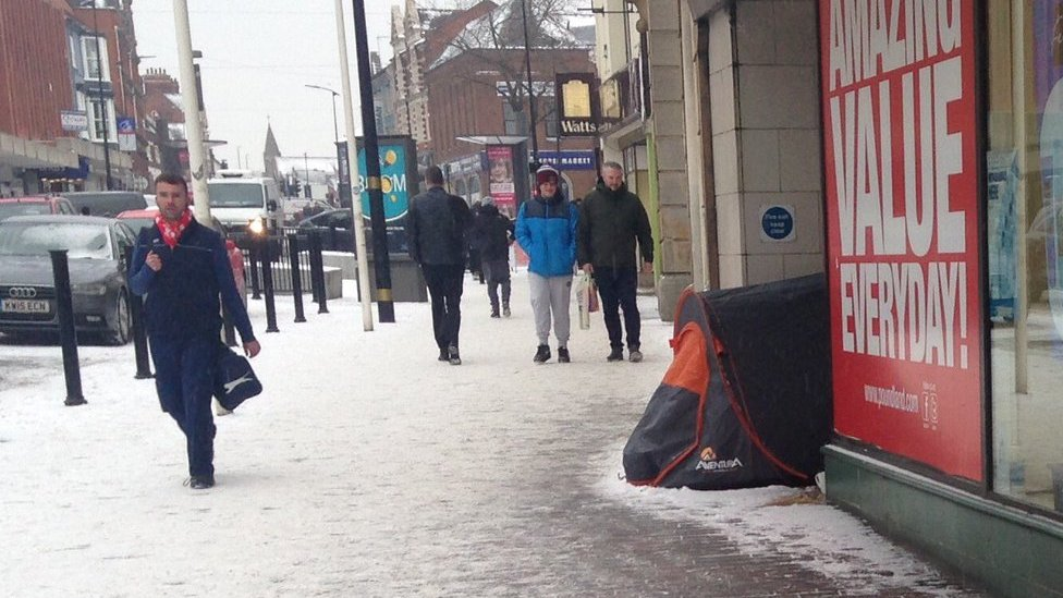Tent of homeless people in Abington Street