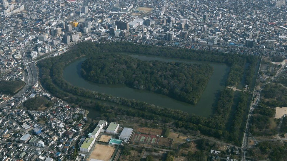 This aerial picture taken on January 16, 2018 shows the mausoleum that is believed to be Emperor Nintoku's in Sakai, Osaka Prefecture