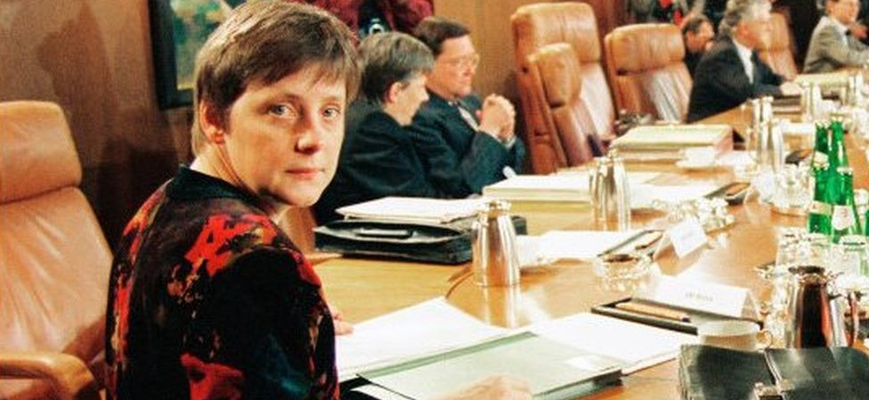 A German government photo of Angela Merkel as women's minister in the early 1990s