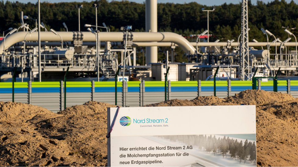 The Nord Stream 2 gas line landfall facility in Lubmin, north eastern Germany