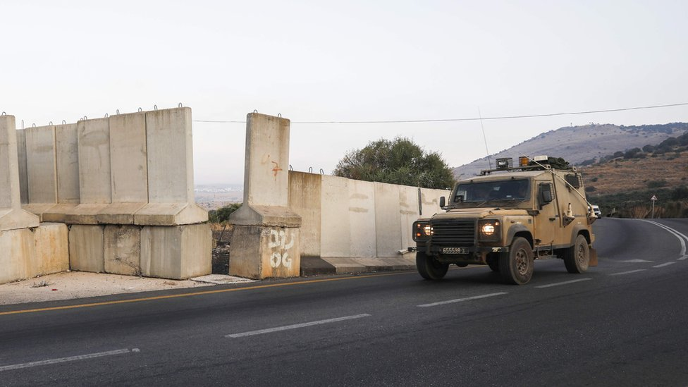 An Israeli military vehicle patrols the border with Lebanon in the occupied Golan Heights (26 August 2019)