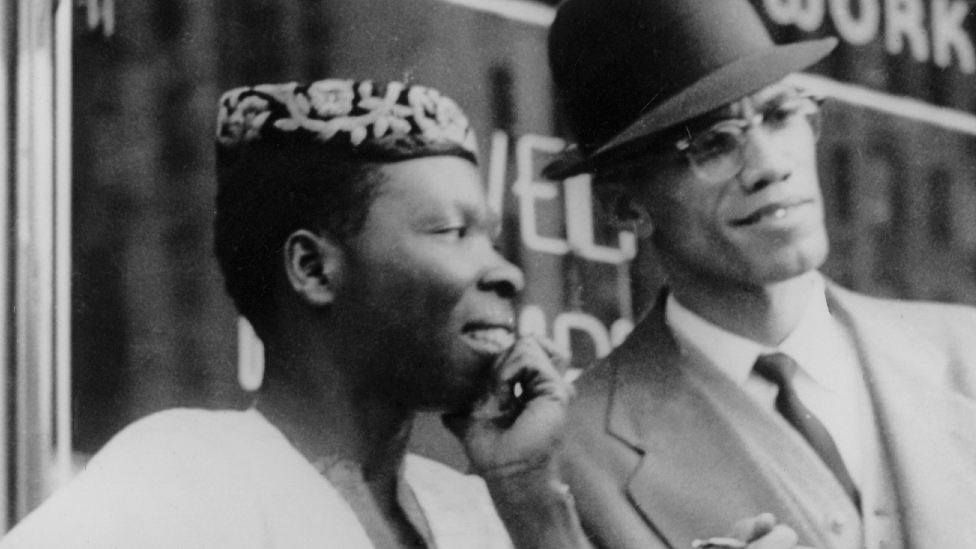 L-R: Babatunde Olatunji and Malcolm X at an event in Harlem, New York, the US - 1 October 1960