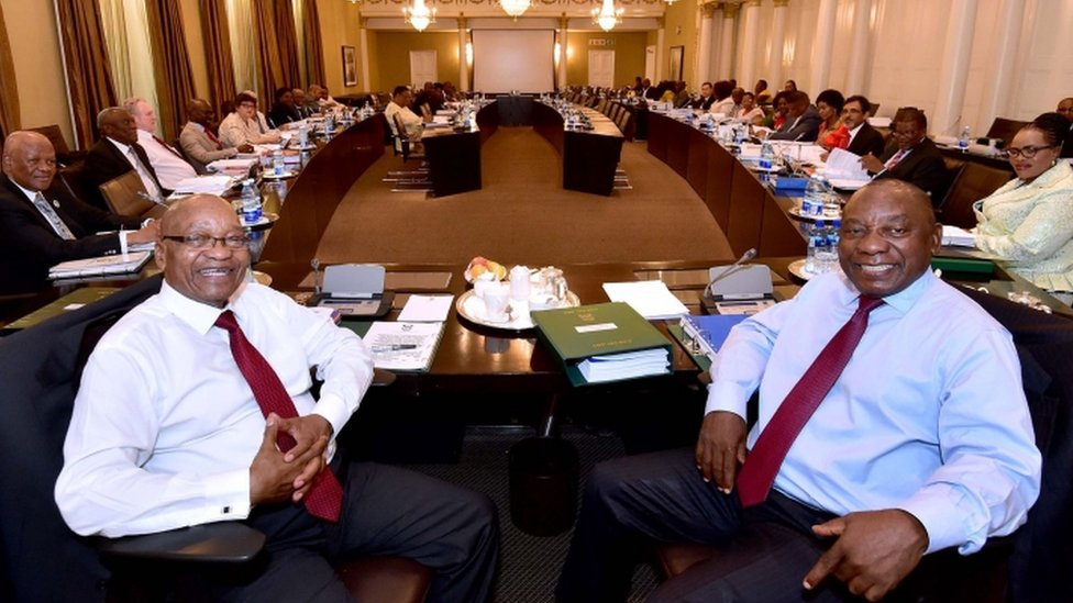 South African President Jacob Zuma and Deputy President Cyril Ramaphosa pictured at a Cabinet meeting with ministers on 7 February