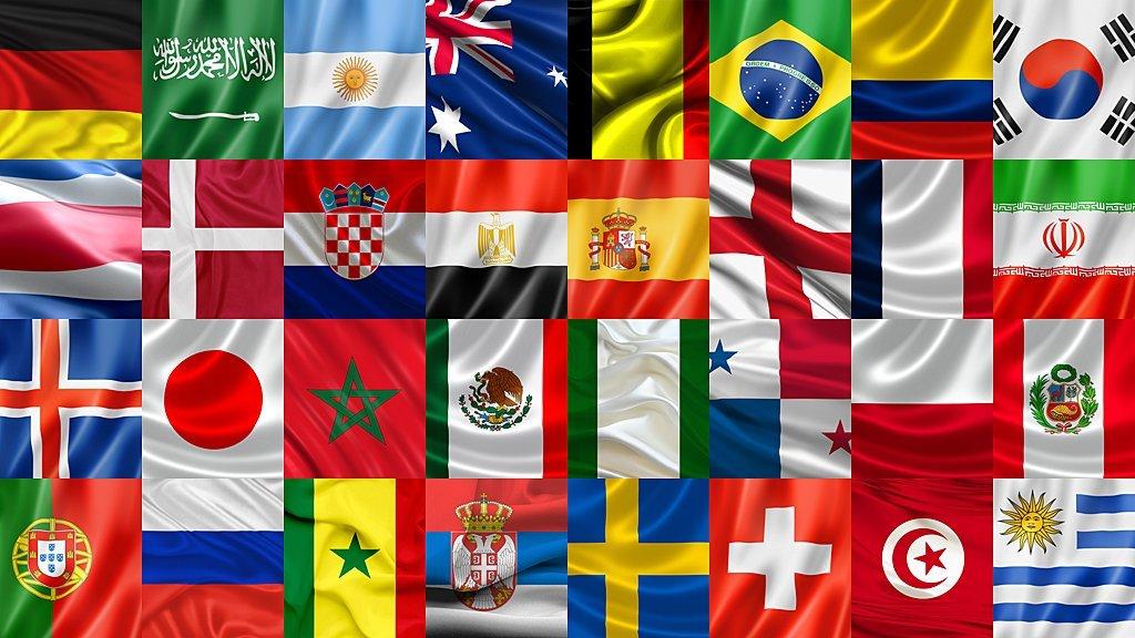 Banderas de los países clasificados a Rusia 2018