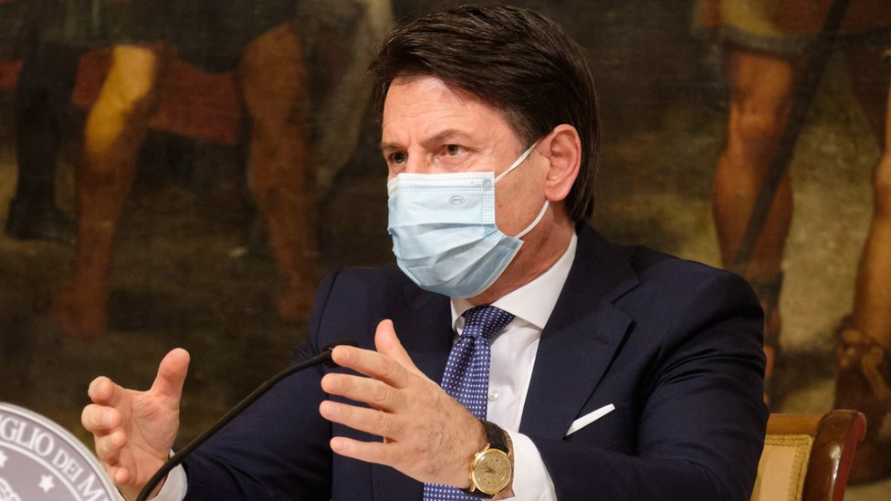 Italian Prime Minister Giuseppe Conte speaks during the press conference to announce the anti-covid rules that will regulate Christmas holidays, in Rome, Italy, 18 December 2020.