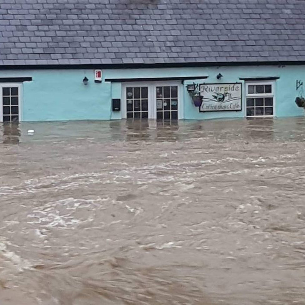 The Riverside Cafe is flooded