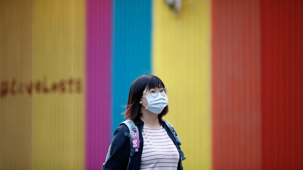 Woman in mask in Taipei