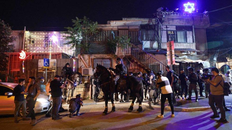 Protestas en Sheij Jarrah.