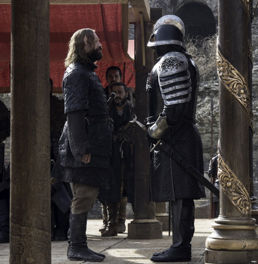 "Rory McCann as Sandor ""The Hound"" Clegane and Hafþór Julius Bjornsson as The Mountain"
