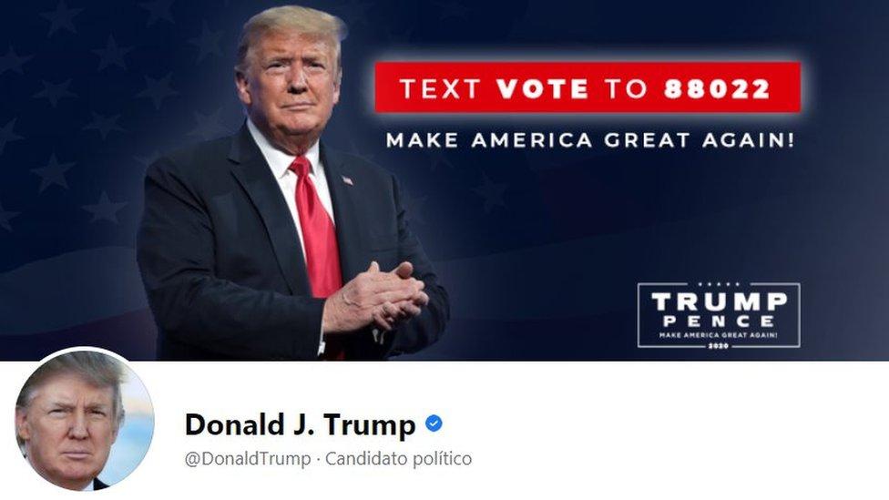 La portada de Facebook de Donald Trump