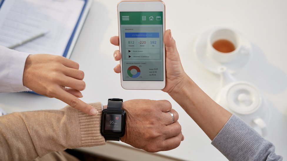 Smartphone app linking to health monitoring watch