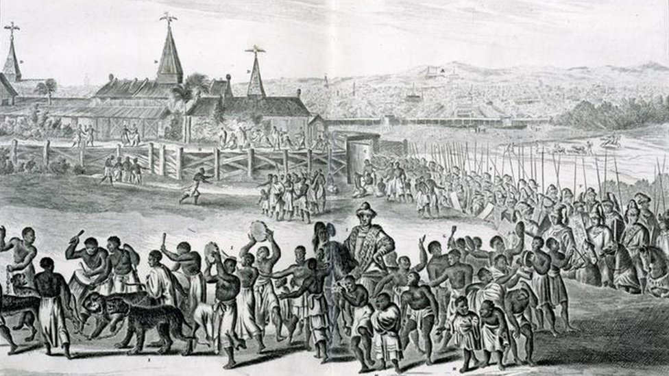 Ceremonial procession of the King of Benin, with the City of Benin in the Background. From Olfert Dapper, Description de l'Afrique, Traduite du Flamand, Amsterdam. Dated 1686.
