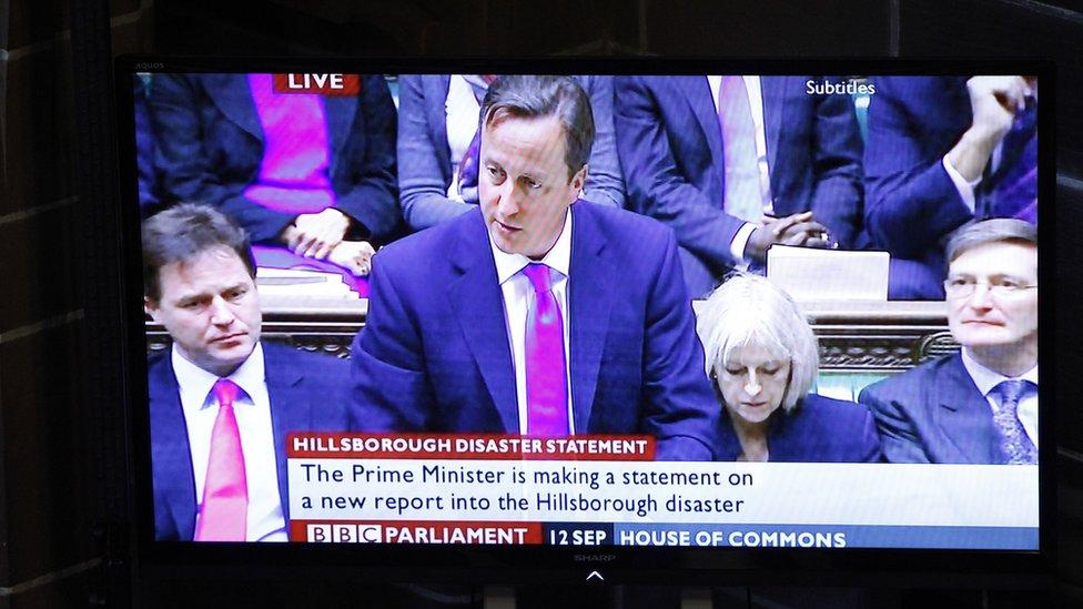 David Cameron on TV reacting to the Hillsborough statement 2012