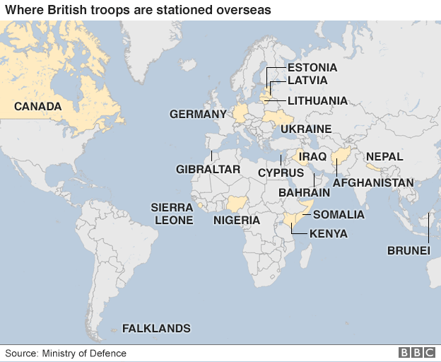 A map showing some of the main countries where British troops are stationed overseas