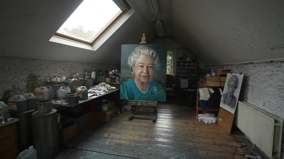 Colin Davidson painted the Queen in Buckingham Palace and completed the portrait at his studio in County Down