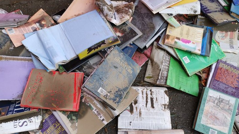 Children's books damaged by flood water in Doncaster