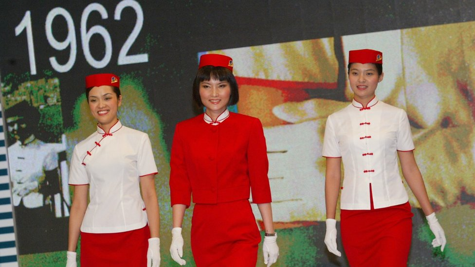 Models shows the Cathay Pacific's uniform of 1962 - 1969