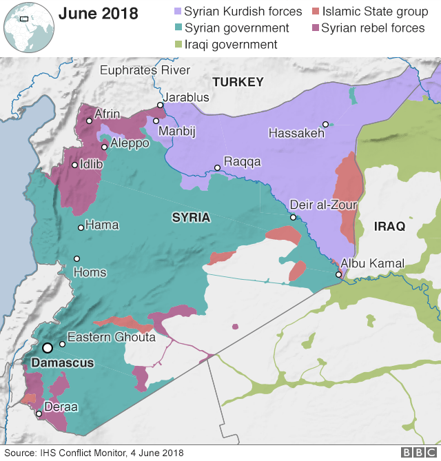 Map showing control of Syria and Iraq (4 June 2018)